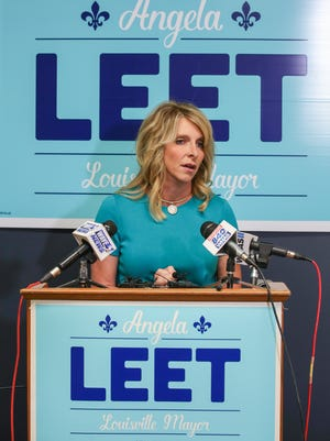 Republican mayoral candidate Angela Leet at her campaign headquarters, June 21, 2018.