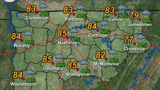 Look for scattered showers or thunderstorms this afternoon. Otherwise, it will be warm and humid with highs in the low to mid 80s, except upper 70s Plateau.