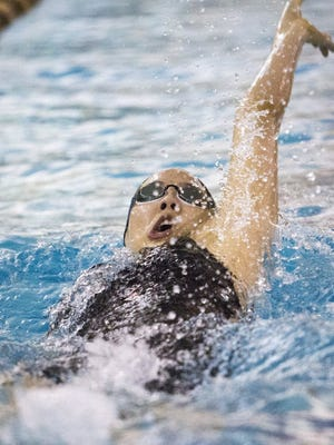 Tenafly's Cleopatra Lim swims in the 200-yard yard IM at the Bergen County Meet of Champions.