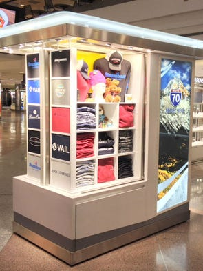 RT70, which sells T-shirts from Denver-area ski resorts, is the newest kiosk to open at Denver International Airport.