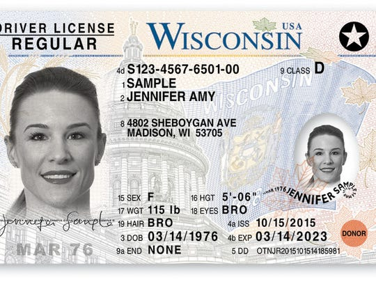 This is a sample of Wisconsin's current driver's licenses that are compliant with the federal Real ID law. The card feels slightly stiffer and makes a unique sound when dropped on a hard surface. In addition, the cards have a raised signature, date of birth, expiration date, driver's license/ID number and UV ink that highlights intricate Wisconsin artwork on front, according to the Wisconsin Department of Transportation.