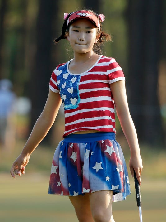 Lucy Li Reacts To Her Putt On The 11th Hole During The First Round Of The