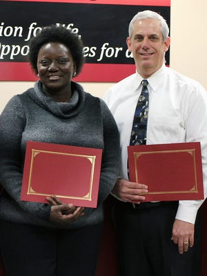 Jerome Kearns, right, was re-elected president of the Fairfield Board of Education and Balena Shorter was re-elected vice president.