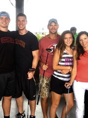 """Penn State incoming freshman Judge Culpepper (far left) has grown up in what he describes as the most competitive and yet supportive family. His father, Brad, (middle) is a former NFL lineman. Both he and his mother, Monica, (far right) were finalists on the TV reality show """"Survivor."""""""