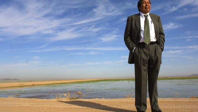 Shown in an October 25, 2002, photo, Rodney Lewis was the lead attorney and negotiator in water settlement talks for the Gila River Indian Community.  Standing in front of alfalfa and cotton fields in Sacaton,  he said he would like to see lots of fields like this in his community.