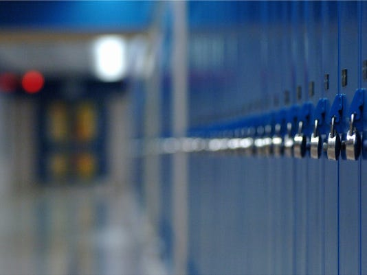 Row of blue school lockers.