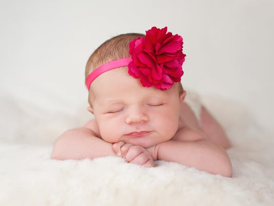 Newborn Baby Girl with Hot Pink Flower Headband