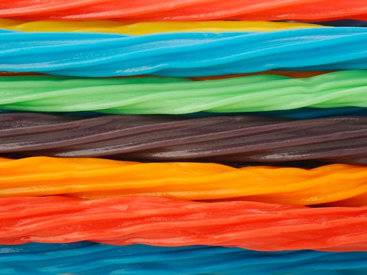 colorful licorice candy shaped like a twisted rope