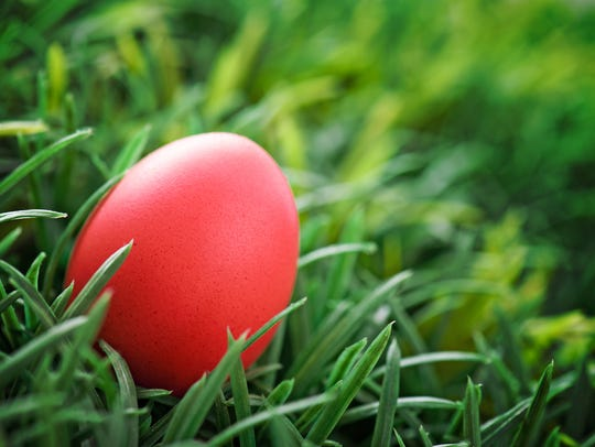 Bright red Easter eggs in Eastern Orthodox tradition