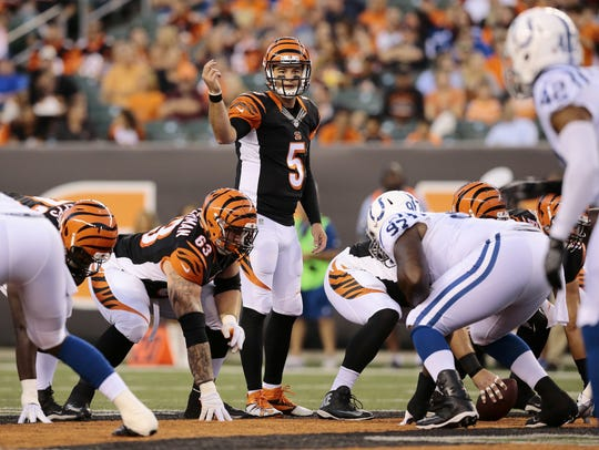 Cincinnati Bengals quarterback AJ McCarron (5) could