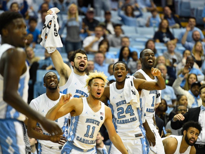 Dec. 3: North Carolina Tar Heels players Brandon Robinson