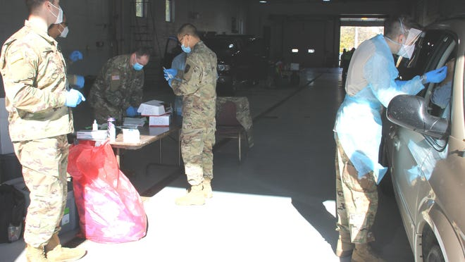 The National Guard hosted a COVID-19 test site on Tuesday at the BATA garage, in conjunction with the local health agency.
