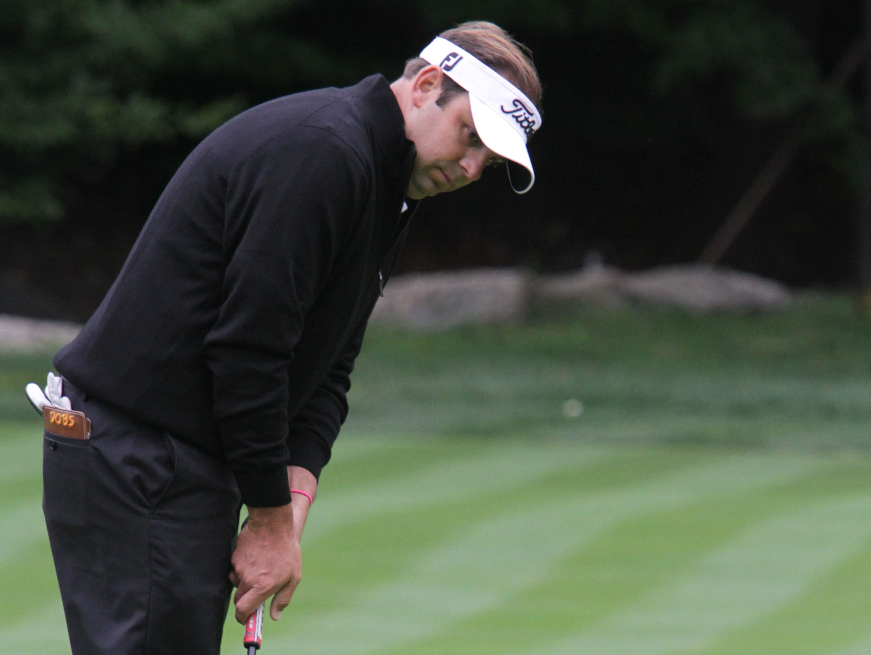 Matt Dobyns watches his missed putt on the 17th during regular play in the final round of the Met PGA Championship at Fenway Golf Club Oct. 1, 2015. Tyler Jaramillo forced a sudden death play-off against Dobyns that Dobyns won.
