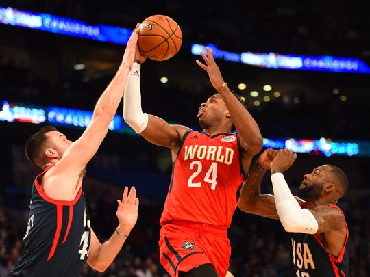 World Team guard Buddy Hield of the New Orleans Pelicans
