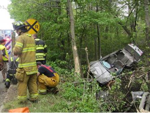 Two people were trapped Sunday in the wreckage of their vehicle following a Tinton Falls crash.