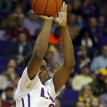 LSU Tigers guard Antonio Blakeney (2) shoots the ball against the Mississippi State Bulldogs in the second half at the Pete Maravich Assembly Center.