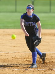 Hammonton's Nicole Vaccarella pitches during a 7-2 loss to Cumberland on April 1.