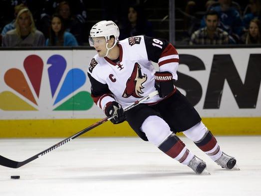 Arizona Coyotes' Shane Doan (19) during an NHL hockey