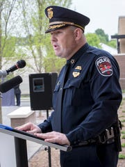 MPD Chief Mike Bowen speaks at the Murfreesboro Police Dept. Memorial Service held at the new headquarters on Highland Ave.