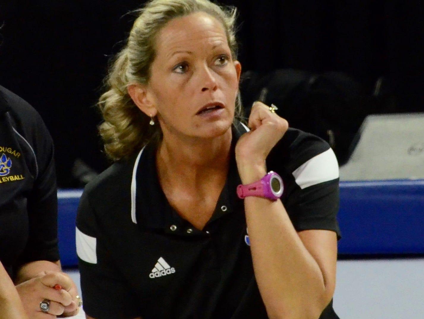 Goodpasture coach Lynn Dearing looks on during Thursday's Class A elimination match against Jackson County.
