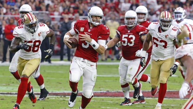 Cardinals quarterback Carson Palmer (3) scrambles out of the pocket against the 49ers in the 2nd quarter Sunday, Nov. 13, 2016 in Glendale,  Ariz.