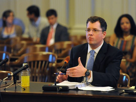 Kevin O'Dowd, Governor Christie's chief of staff, left, with his attorney Paul Zouek, testifies before the New Jersey Select Commission on Investigation on Monday, June 9, 2014.