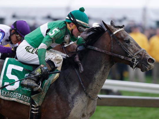 Exaggerator (5) with Kent Desormeaux aboard moves past Nyquist with Mario Gutierrez during the 141st Preakness Stakes horse race at Pimlico Race Course.