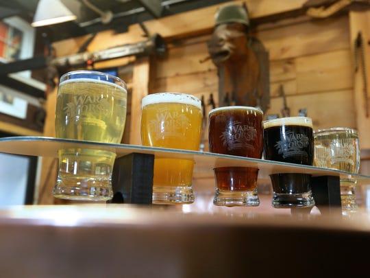 Beer flight at War Horse Brewing Company in Geneva.