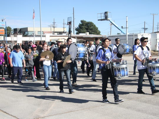 Carlsbad High School drum line led the annual march along with the Carlsbad Police Department.