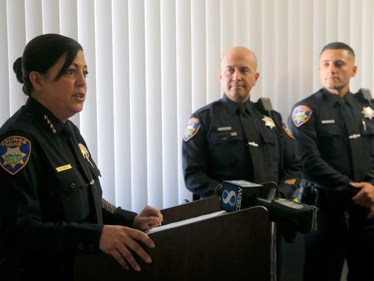 Salinas Police Chief Adele Frese introduces officers
