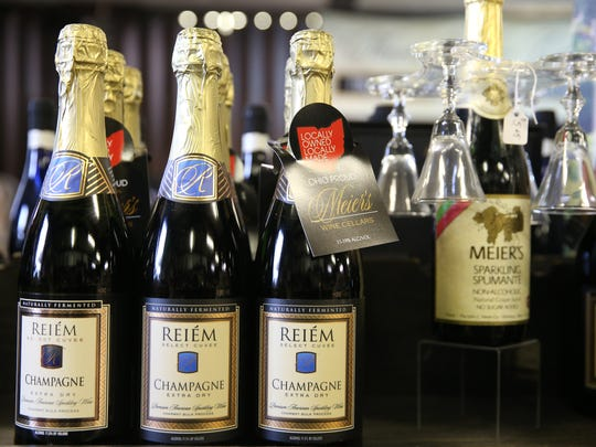 Locally produced champagne, pictured, Tuesday, Nov. 21, 2017, at Meier's Winery in Silverton, Ohio.