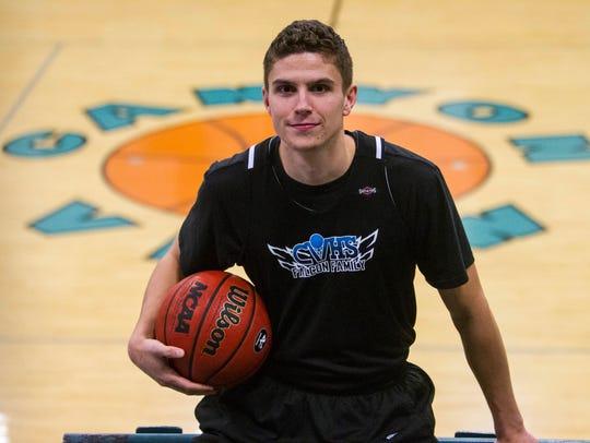 Canyon View basketball player Brantzen Blackner poses
