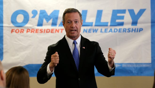 Martin O'Malley speaks during a campaign stop at at the Timberland apparel company in Stratham, N.H., on Jan. 21, 2016.