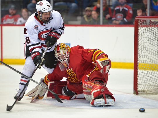 St. Cloud State's Judd Peterson is unable capitalize