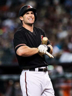 Arizona Diamondbacks first baseman Paul Goldschmidt (44) grimaces after hitting a foul ball in the first inning against the San Francicso Giants at Chase Field in Phoenix, AZ, on Saturday, July 18, 2015.
