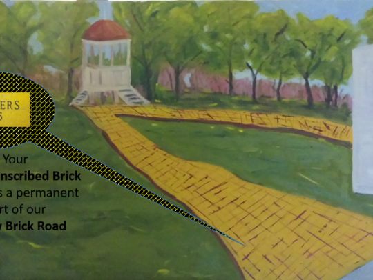 This rendering shows the Yellow Brick Road of bricks