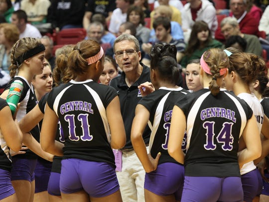 In this 2010 file photo, Central coach Wes Lyon talks to his players during a game against Penn at Worthen Arena.