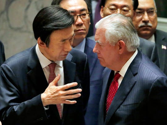 South Korea's Foreign Minister Yun Byung-se, left, talks with U.S. Secretary of State Rex Tillerson after a meeting of the Security Council at United Nations headquarters, Friday, April 28, 2017.