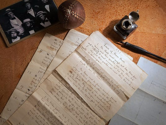 """CORRECTS THE DOCUMENT TITLE TO """"LAWS OF BASE BALL,"""" NOT """"RULES OF BASE BALL - This Feb. 11, 2016 photo provided by SCP Auctions shows the 1857 documents titled """"Laws of Base Ball."""" Baseball may have found its birth certificate. And with it a new birth date, and new founding father. Coinciding with the start of the professional baseball season, a set of game-changing documents went up for sale this week. Their authenticity and significance are verified by experts including John Thorn, Major League Baseball's official historian. (Leslie Larsen Bird/SCP Auctions via AP)"""
