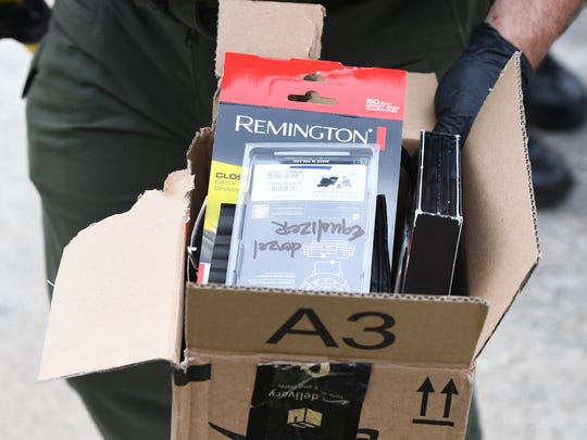 A electric razor and DVDs were among the items in a suspicious package received at Fox Carolina on Friday, April 6, 2018. The station received the package in the mail on Friday and called 911 fearing it may contain a bomb.