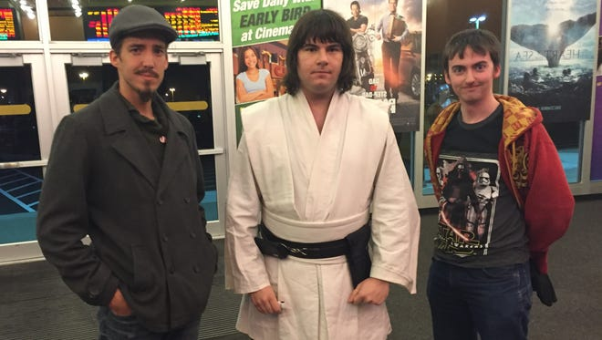 Tom Buckley of Syracuse, Matt Stonefoot of Fredonia and Tom Sullivan of Fredonia arrive at a Star Wars movie marathon in this file photo.