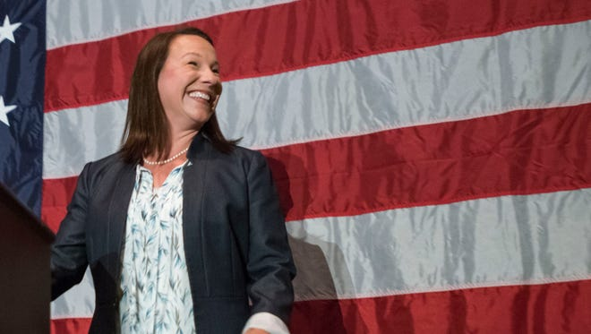 U.S. Rep. Martha Roby, R-Montgomery talks to supporters after winning the primary run off election Tuesday, July 17, 2018, in Montgomery, Ala.