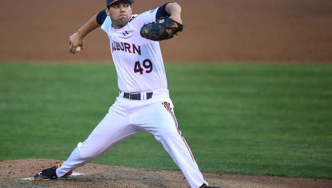 Auburn pitcher Cole Lipscomb allowed seven runs over 6 1/3 innings in a 13-4 loss to Tennessee on April 14, 2016.