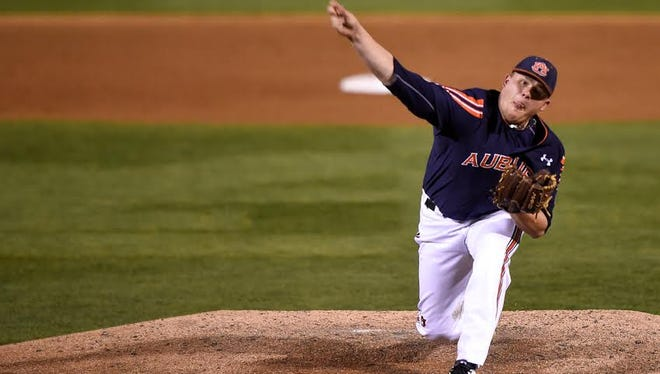 Auburn right-hander Justin Camp throws a complete game shutout in a 2-0 victory over Tennessee on April 15, 2016.