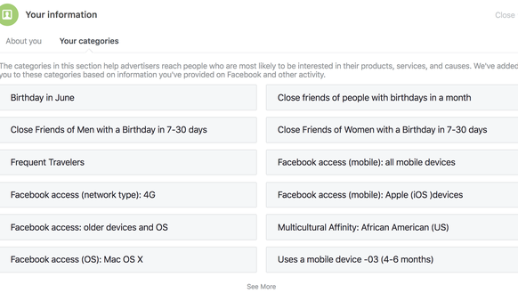 Facebook's listing of your personal information, the
