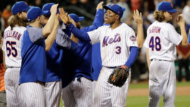The Mets celebrate Wednesday's win.