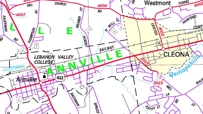 Map shows construction area at Route 934 bridge in Annville.