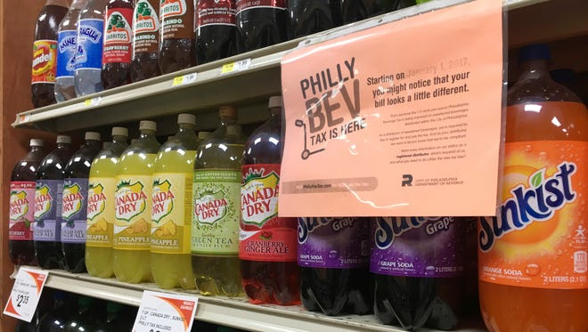 A sweetened beverage tax sign is posted by sweetened beverages at a supermarket in the Port Richmond neighborhood of Philadelphia on July 18, 2018.