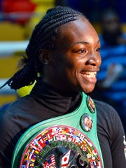 Flint native Claressa Shields speaks with the media Monday, July 10, at Kronk Boxing Community Center in preparation for her upcoming boxing match against undefeated Nikki Adler slated for Aug. 4 at MGM Grand Detroit.