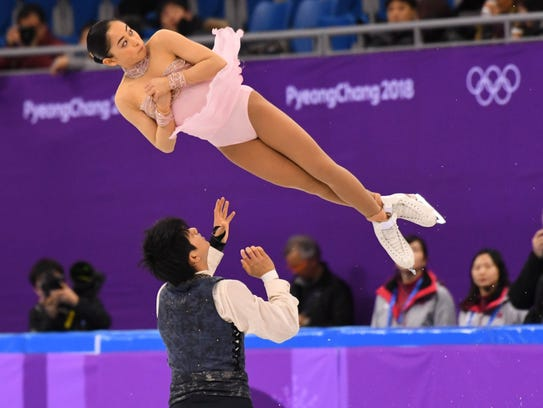 Miu Suzaki and Ryuichi Kihara (JPN) during the pairs